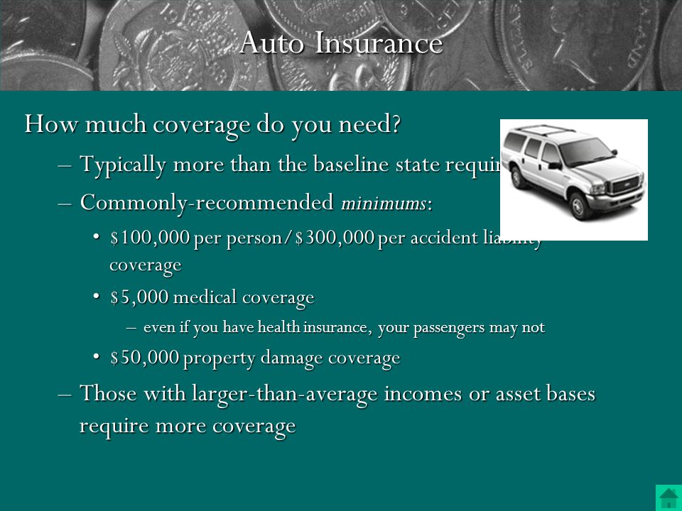 Liability CoverageLiability Coverage –Pay others for bodily injury and property damage for which you are responsible Medical CoverageMedical Coverage –Covers medical bills for you and your passengers Uninsured Motorist CoverageUninsured Motorist Coverage –Pays what you would have received from another motorist had they had their own insurance Vehicle Damage CoverageVehicle Damage Coverage –Collision—pays for damage caused by collision or rollover –Comprehensive—pays for loss when car is stolen or damaged by vandalism, fire, etc.