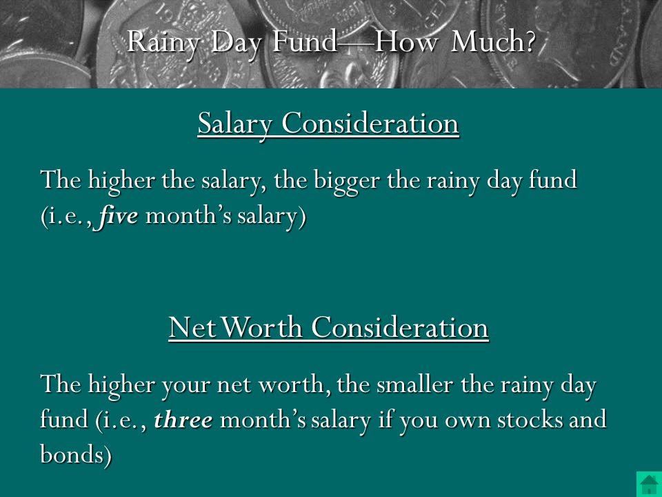 Rainy Day Fund Insured but low interest rates Checking Account Savings Account and Money Market Deposit Acct.