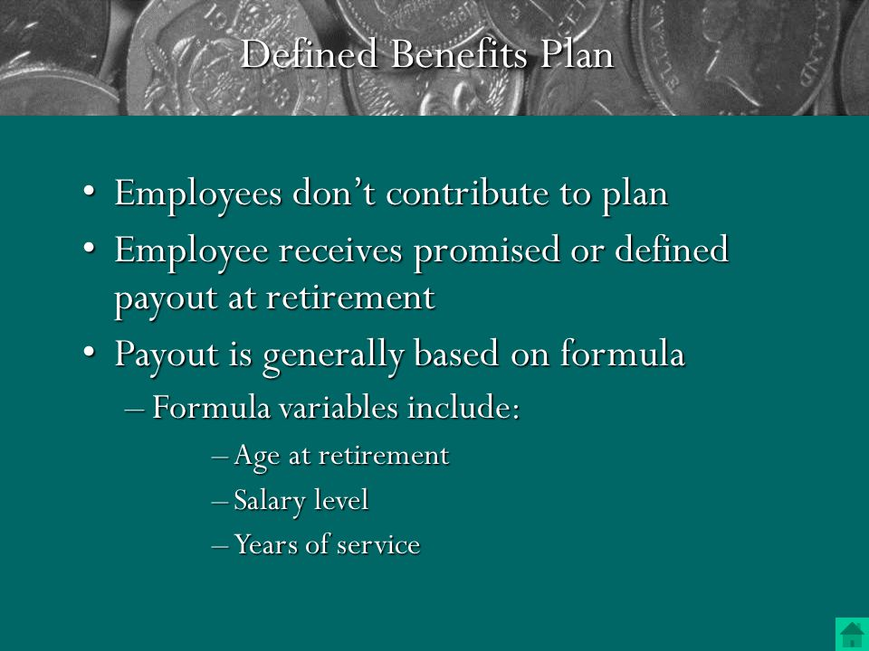 Three Kinds of Retirement Plans Employer Funded Pension Plan (Defined Benefit Plan) Employer Sponsored Retirement Plan (Defined Contribution Plan) (Defined Contribution Plan) Individual Retirement Accounts