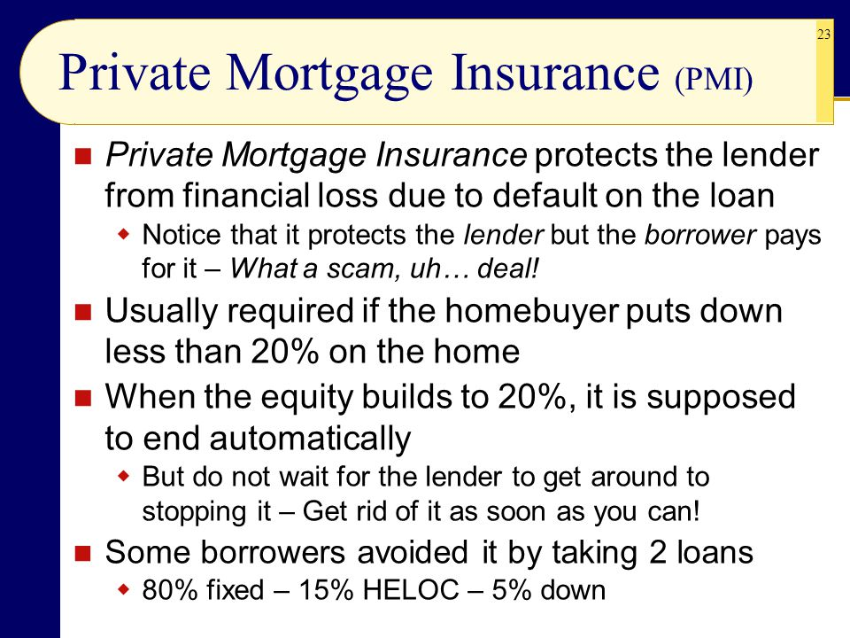 23 Private Mortgage Insurance (PMI) Private Mortgage Insurance protects the lender from financial loss due to default on the loan  Notice that it protects the lender but the borrower pays for it – What a scam, uh… deal.