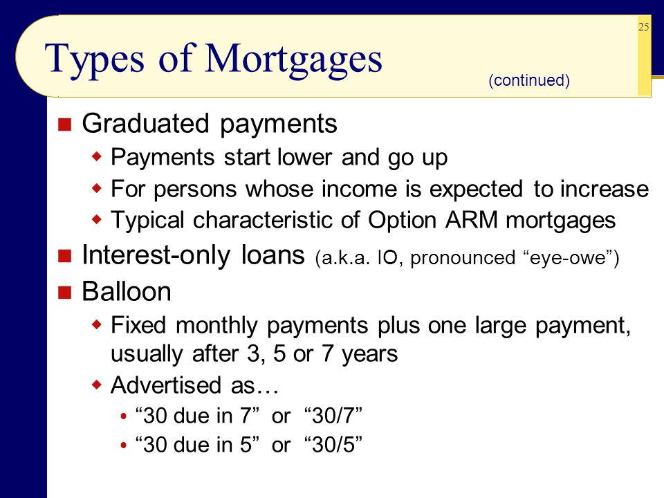 25 Types of Mortgages Graduated payments  Payments start lower and go up  For persons whose income is expected to increase  Typical characteristic of Option ARM mortgages Interest-only loans (a.k.a.
