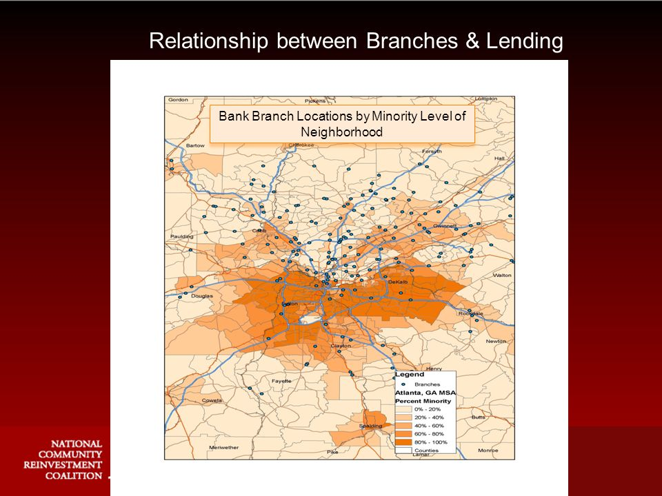 Relationship between Branches & Lending Bank Branch Locations by Minority Level of Neighborhood