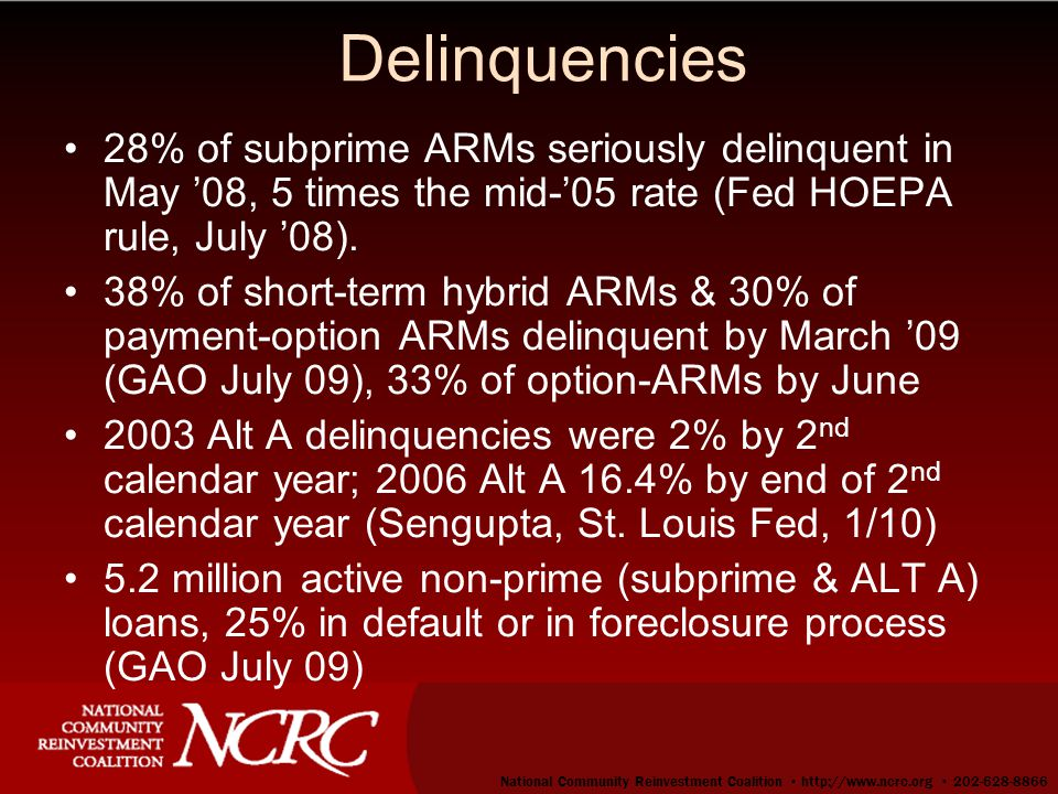 33 Delinquencies 28% of subprime ARMs seriously delinquent in May '08, 5 times the mid-'05 rate (Fed HOEPA rule, July '08).