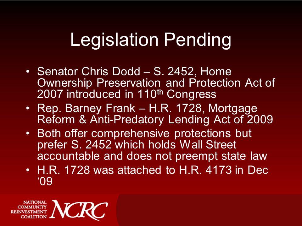 Legislation Pending Senator Chris Dodd – S.