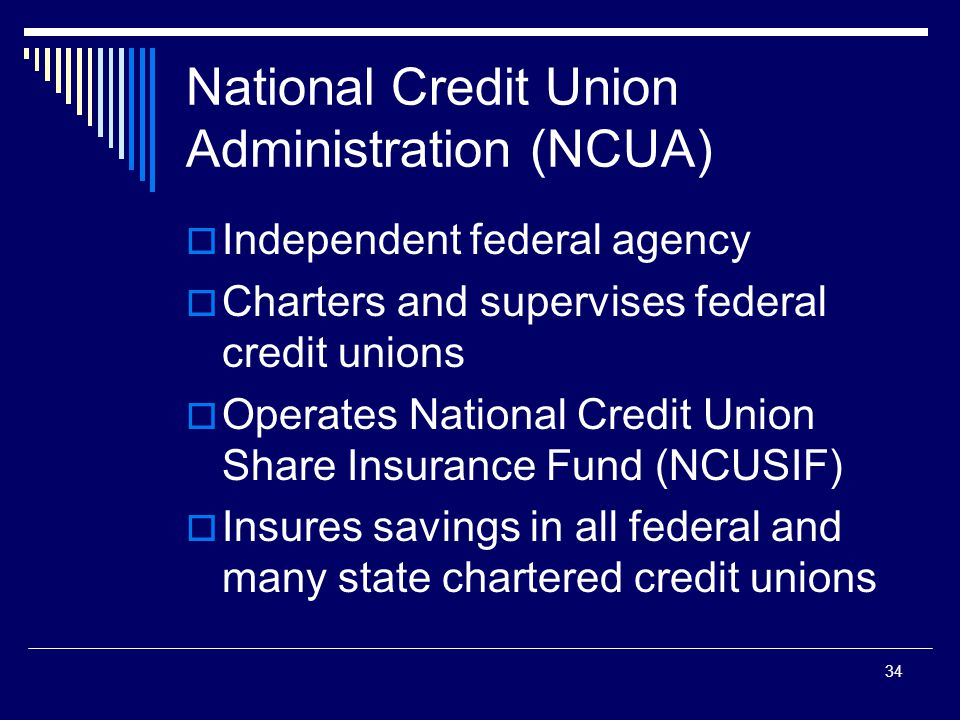34 National Credit Union Administration (NCUA)  Independent federal agency  Charters and supervises federal credit unions  Operates National Credit