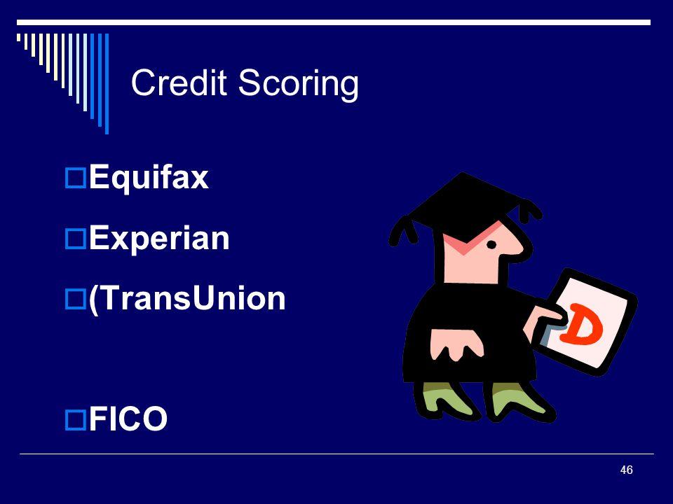 46 Credit Scoring  Equifax  Experian  (TransUnion  FICO