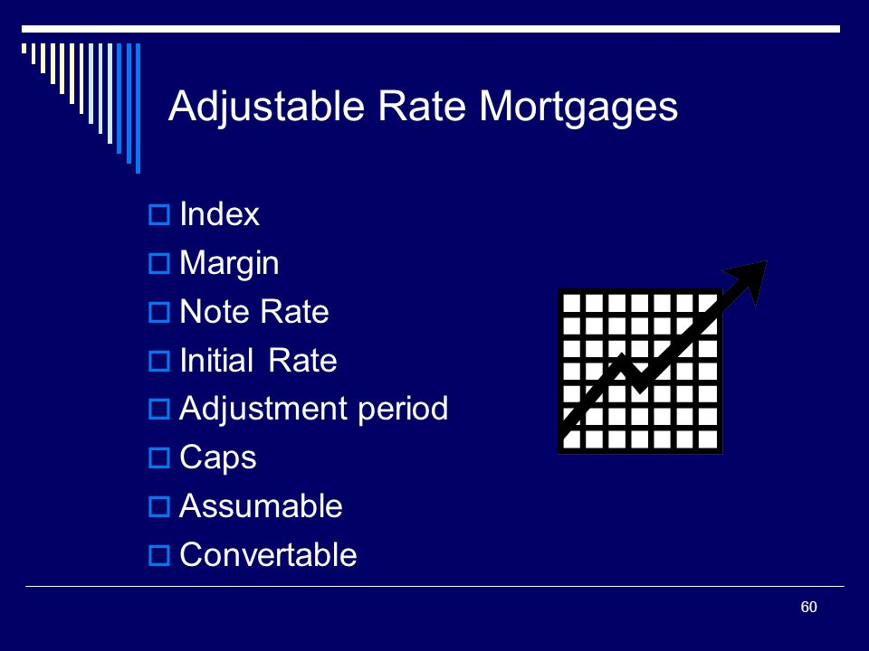 60 Adjustable Rate Mortgages  Index  Margin  Note Rate  Initial Rate  Adjustment period  Caps  Assumable  Convertable