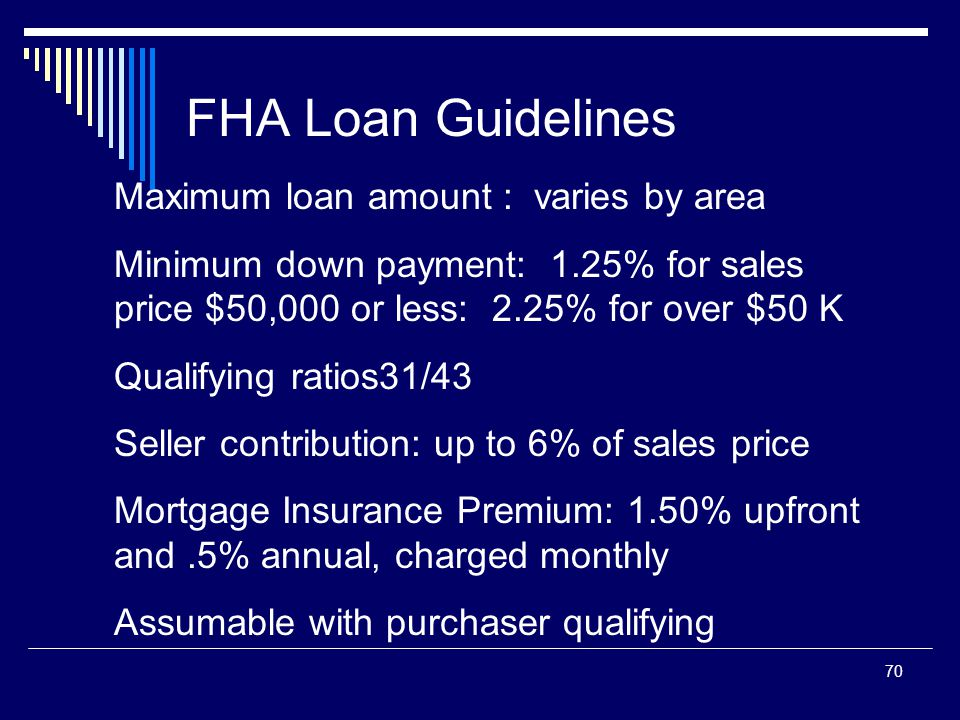 70 FHA Loan Guidelines Maximum loan amount : varies by area Minimum down payment: 1.25% for sales price $50,000 or less: 2.25% for over $50 K Qualifyi