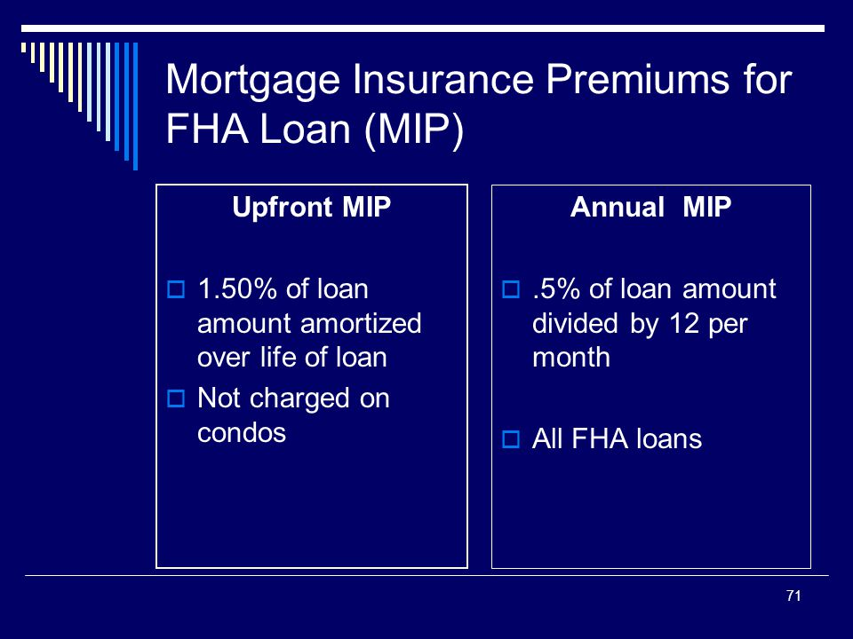 71 Mortgage Insurance Premiums for FHA Loan (MIP) Upfront MIP  1.50% of loan amount amortized over life of loan  Not charged on condos Annual MIP .
