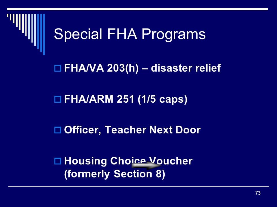 73 Special FHA Programs  FHA/VA 203(h) – disaster relief  FHA/ARM 251 (1/5 caps)  Officer, Teacher Next Door  Housing Choice Voucher (formerly Sec