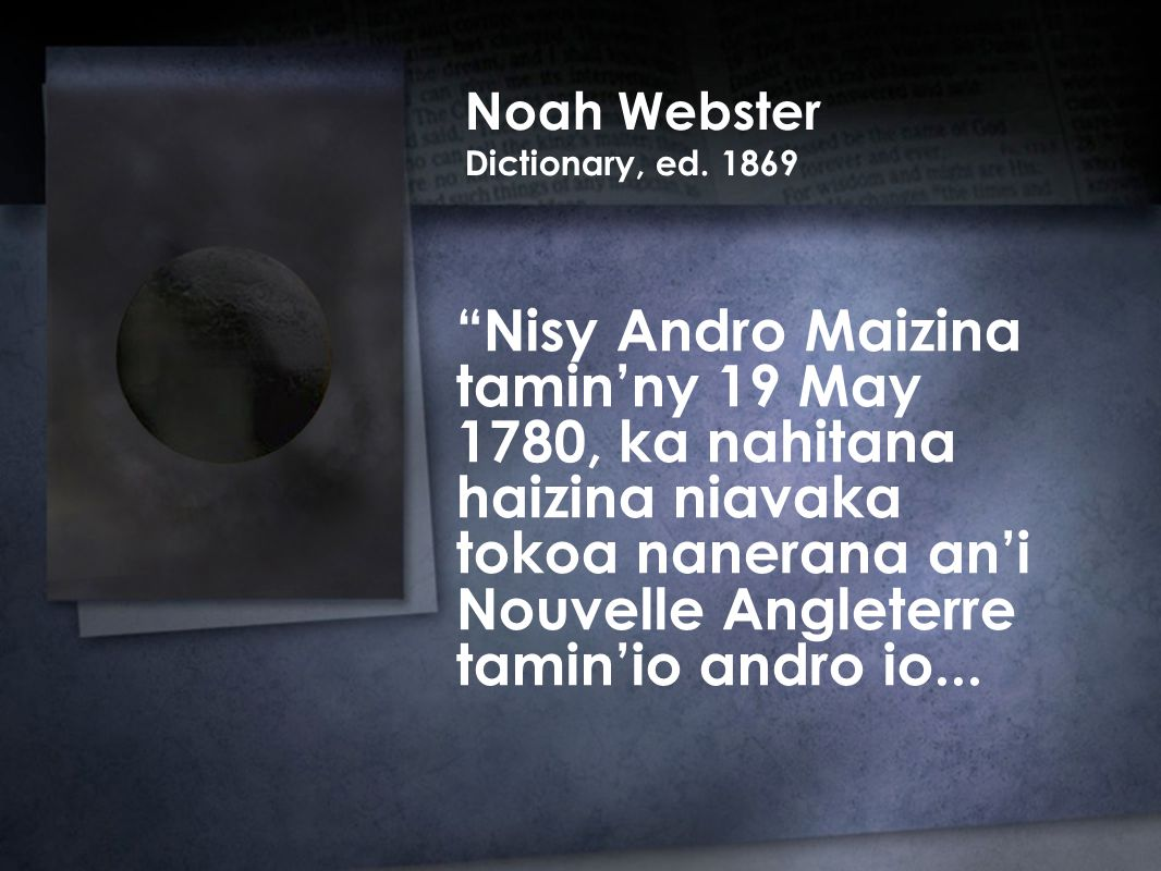 Noah Webster Dictionary, ed.
