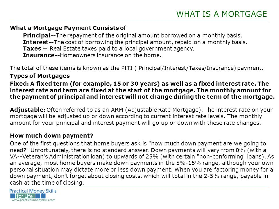 WHAT IS A MORTGAGE What a Mortgage Payment Consists of Principal--The repayment of the original amount borrowed on a monthly basis.