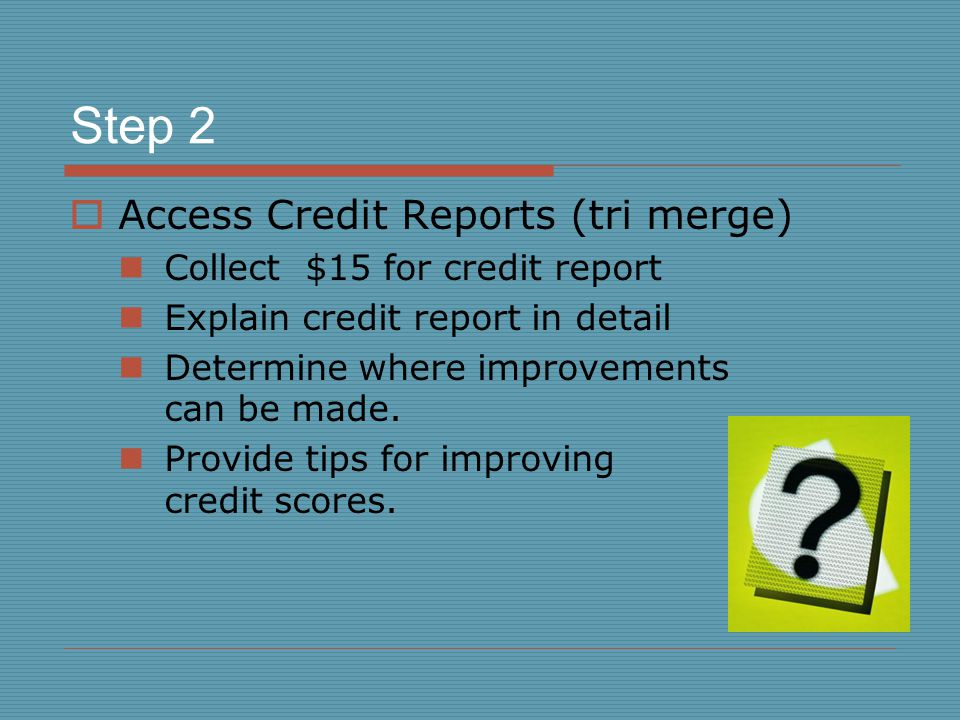 Step 3  Compare lender's requirements with current credit score  Advise of the purchase price they can qualify for  Give Good Faith Estimate Highlight the purchase price and monthly payments (PITI)