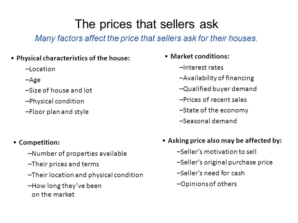 The prices that sellers ask Many factors affect the price that sellers ask for their houses.
