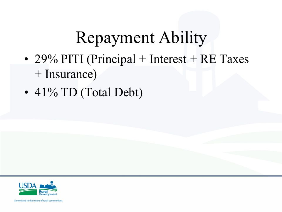 Repayment Ability 29% PITI (Principal + Interest + RE Taxes + Insurance) 41% TD (Total Debt)