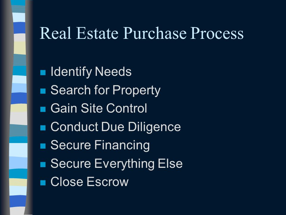 Real Estate Purchase Process n Identify Needs n Search for Property n Gain Site Control n Conduct Due Diligence n Secure Financing n Secure Everything