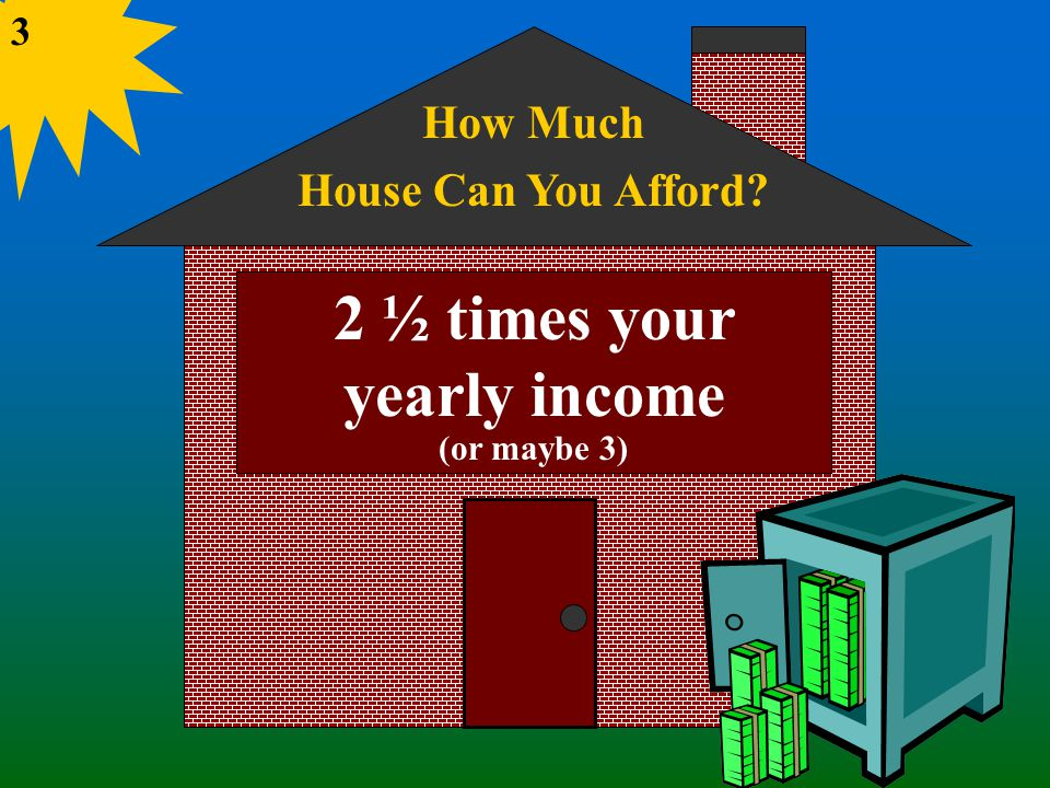 How Much House Can You Afford 2 ½ times your yearly income (or maybe 3) 3