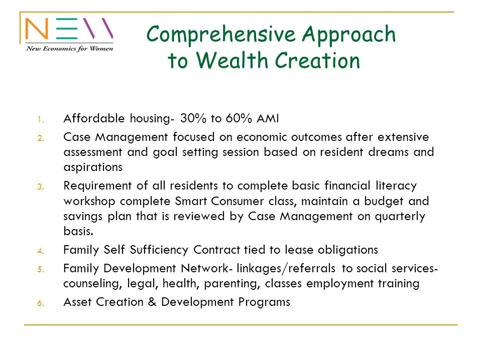 Comprehensive Approach to Wealth Creation 1. Affordable housing- 30% to 60% AMI 2.