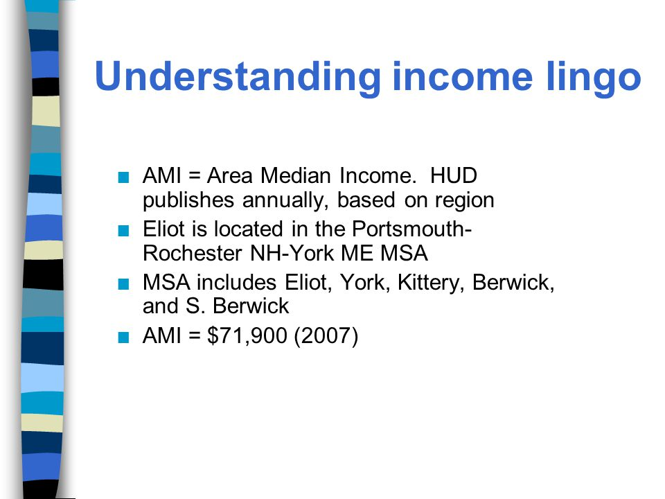 Understanding income lingo n AMI = Area Median Income.