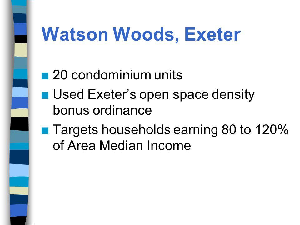 n 20 condominium units n Used Exeter's open space density bonus ordinance n Targets households earning 80 to 120% of Area Median Income