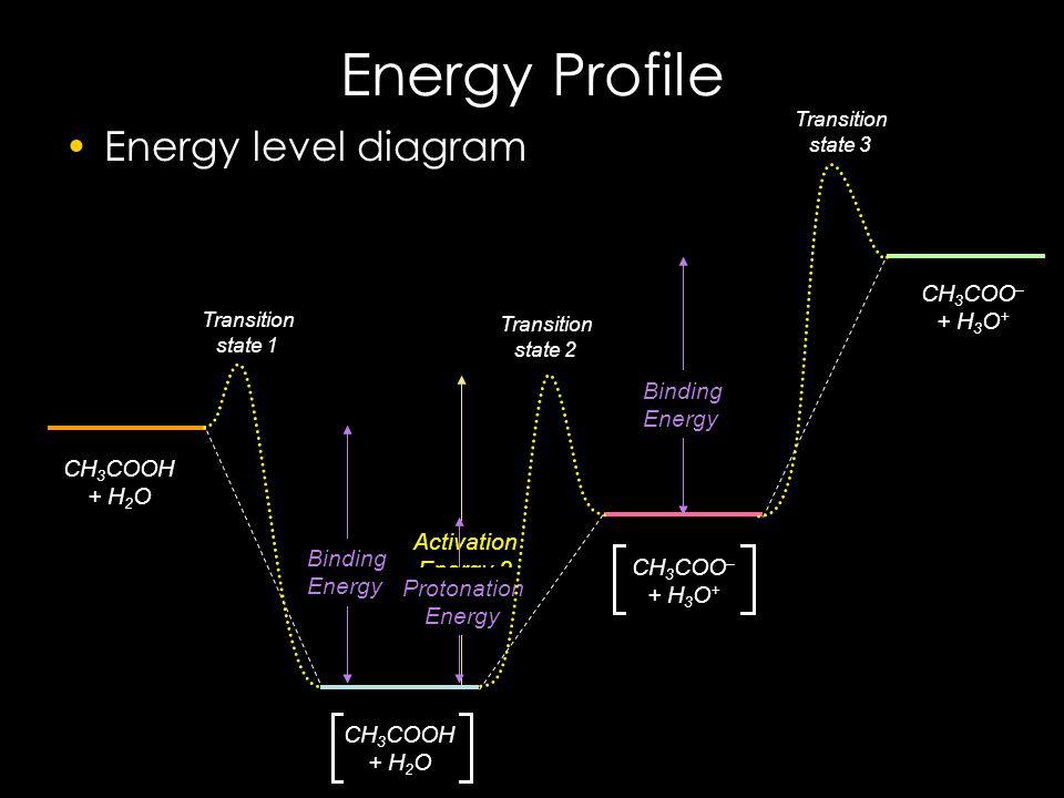 Activation Energy 2 Binding Energy Protonation Energy Energy Profile Energy level diagram CH 3 COOH + H 2 O CH 3 COO – + H 3 O + Binding Energy Transition state 2 Transition state 1 Transition state 3