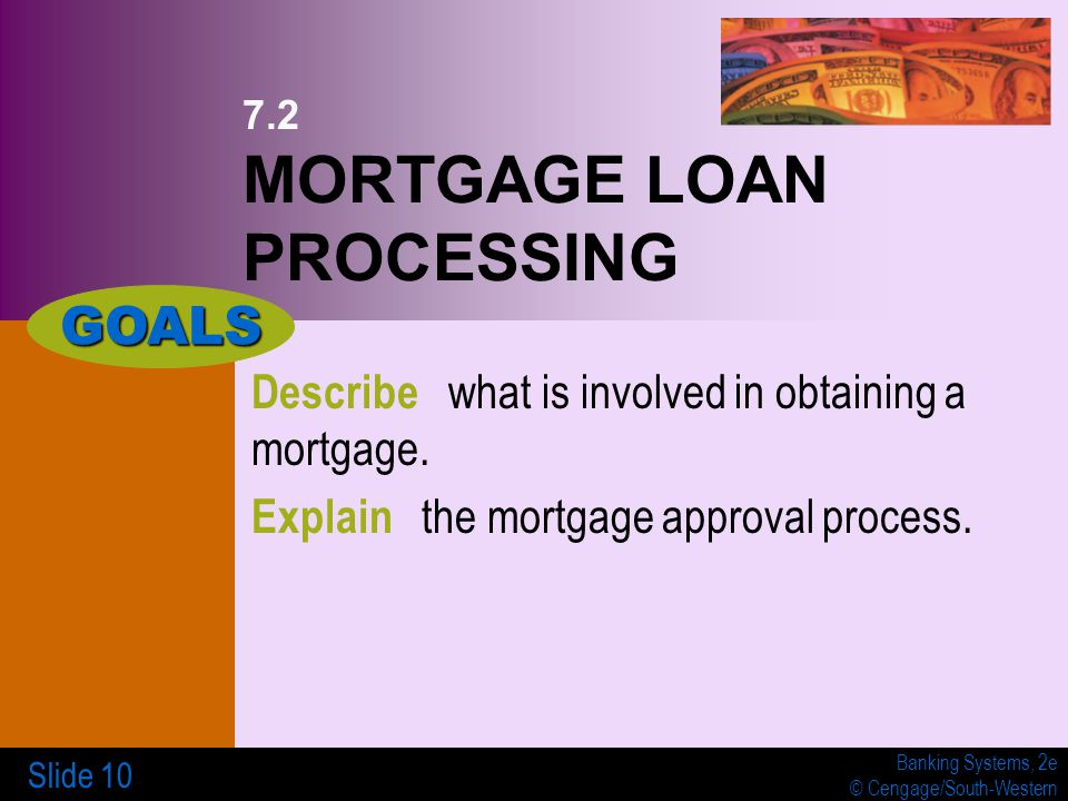 Banking Systems, 2e © Cengage/South-Western Slide 10 7.2 MORTGAGE LOAN PROCESSING Describe what is involved in obtaining a mortgage.