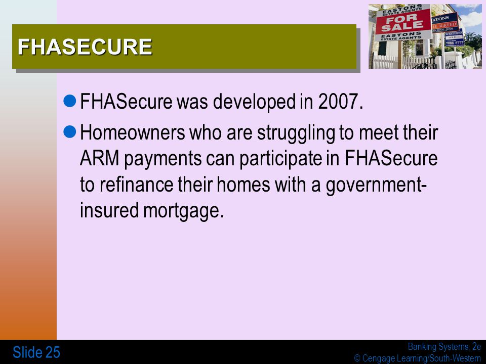 Banking Systems, 2e © Cengage Learning/South-Western Slide 25 FHASECUREFHASECURE FHASecure was developed in 2007. Homeowners who are struggling to mee