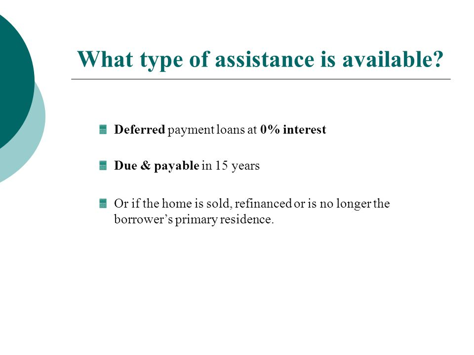 What type of assistance is available.
