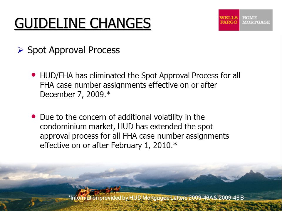 *Information provided by HUD Mortgagee Letters 2009-46A & 2009-46 B GUIDELINE CHANGES  Spot Approval Process HUD/FHA has eliminated the Spot Approval Process for all FHA case number assignments effective on or after December 7, 2009.* Due to the concern of additional volatility in the condominium market, HUD has extended the spot approval process for all FHA case number assignments effective on or after February 1, 2010.*