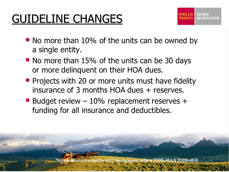 *Information provided by HUD Mortgagee Letters 2009-46A & 2009-46 B GUIDELINE CHANGES No more than 10% of the units can be owned by a single entity.