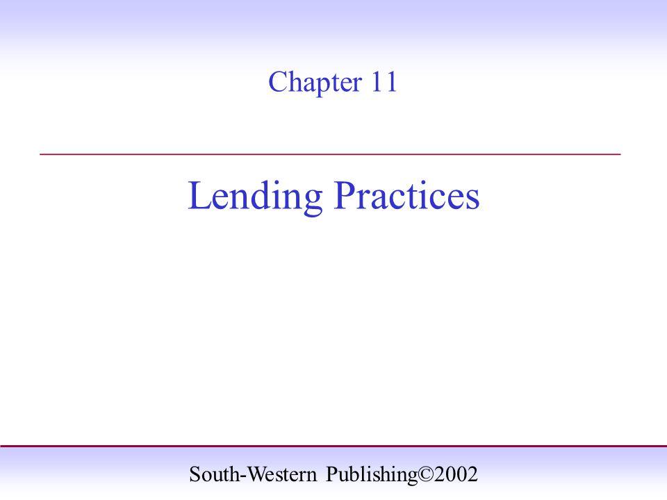 South-Western Publishing©2002 Key Terms Amortized loan Balloon loan Conventional loans Equity FHA Impound account Loan origination fee Loan-to-value ratio Maturity PITI Point Principal UFMIP VA