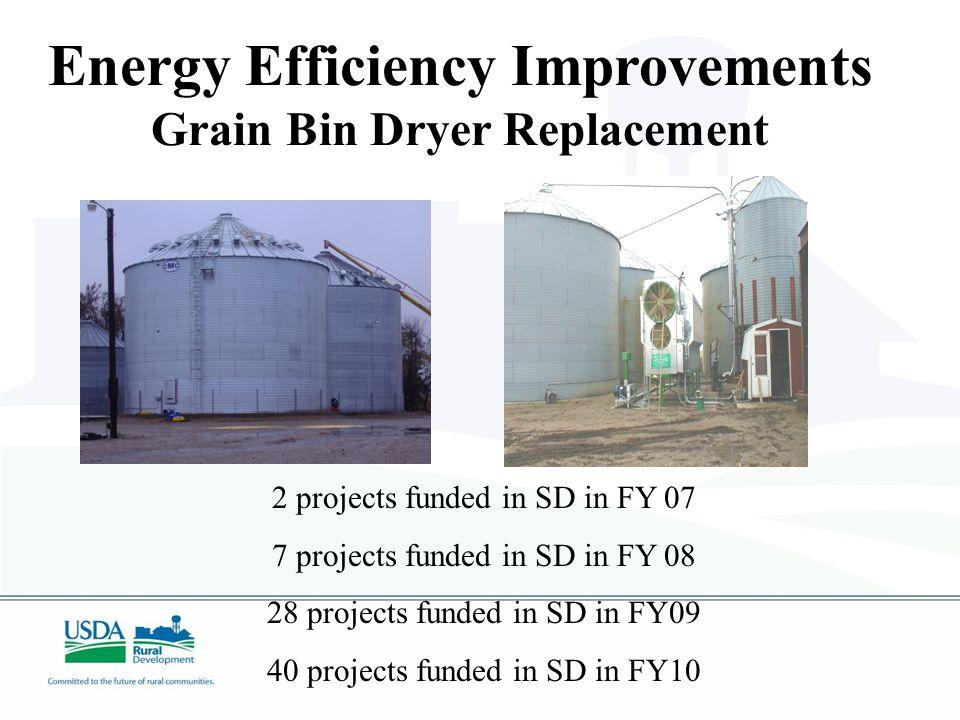 2 projects funded in SD in FY 07 7 projects funded in SD in FY 08 28 projects funded in SD in FY09 40 projects funded in SD in FY10 Energy Efficiency Improvements Grain Bin Dryer Replacement