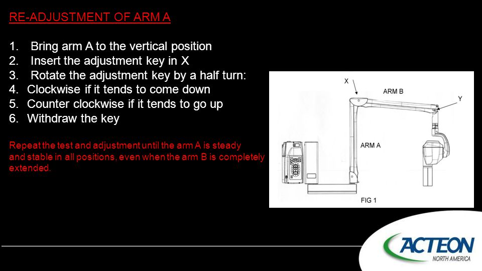 RE-ADJUSTMENT OF ARM A 1. Bring arm A to the vertical position 2. Insert the adjustment key in X 3. Rotate the adjustment key by a half turn: 4.Clockw