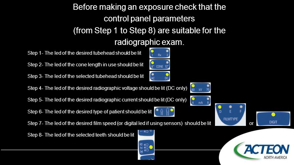 Before making an exposure check that the control panel parameters (from Step 1 to Step 8) are suitable for the radiographic exam. Step 1- The led of t