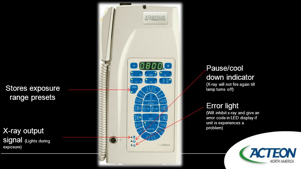 Stores exposure range presets X-ray output signal (Lights during exposure) Pause/cool down indicator (X-ray will not fire again till lamp turns off) E