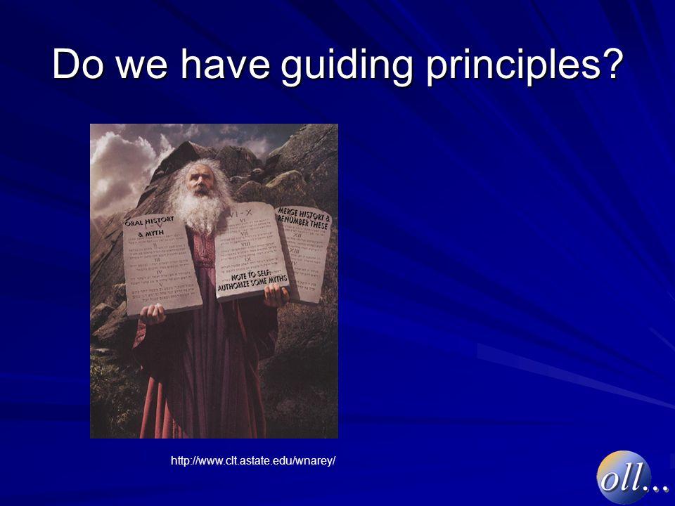 Do we have guiding principles http://www.clt.astate.edu/wnarey/