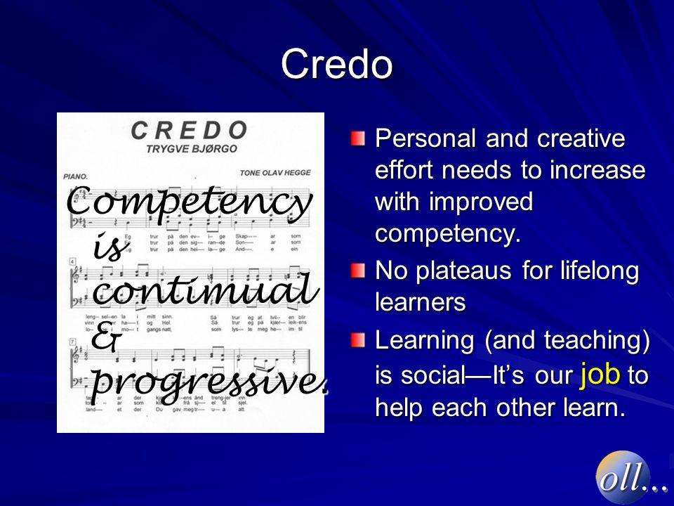 Credo Competency is contimual & progressive.