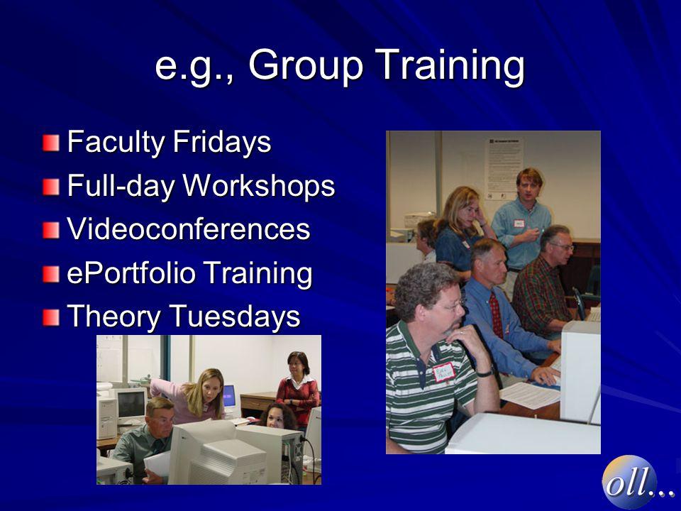 e.g., Group Training Faculty Fridays Full-day Workshops Videoconferences ePortfolio Training Theory Tuesdays