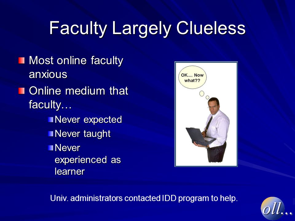 Faculty Largely Clueless Most online faculty anxious Online medium that faculty… Never expected Never taught Never experienced as learner Univ.