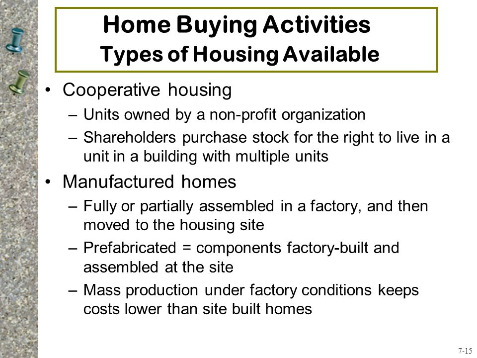 Home Buying Activities Types of Housing Available Cooperative housing –Units owned by a non-profit organization –Shareholders purchase stock for the right to live in a unit in a building with multiple units Manufactured homes –Fully or partially assembled in a factory, and then moved to the housing site –Prefabricated = components factory-built and assembled at the site –Mass production under factory conditions keeps costs lower than site built homes 7-15