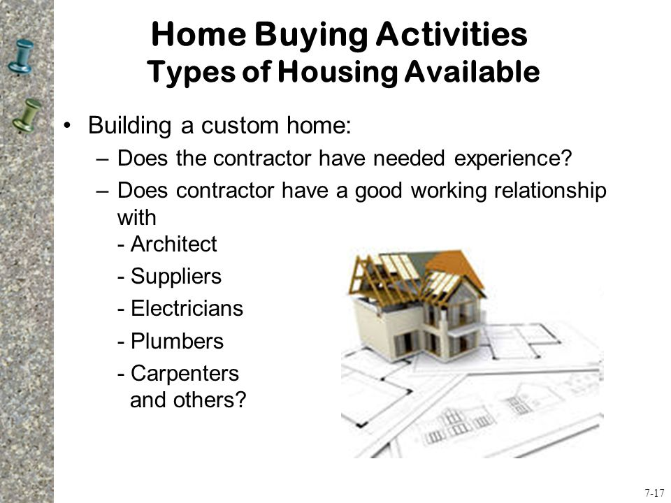 Building a custom home: –Does the contractor have needed experience.