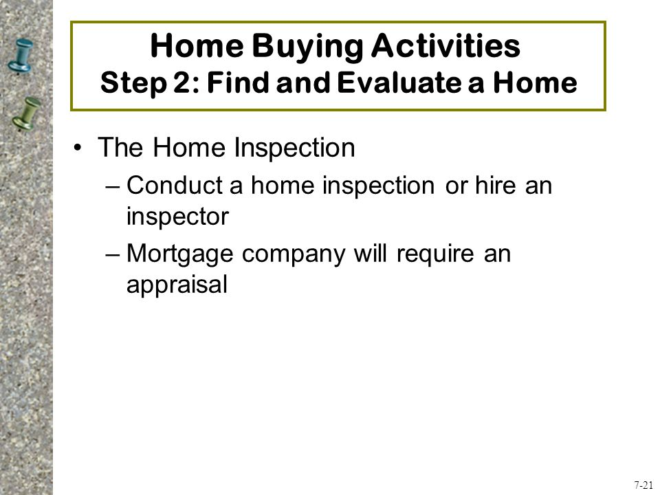 Home Buying Activities Step 2: Find and Evaluate a Home The Home Inspection –Conduct a home inspection or hire an inspector –Mortgage company will require an appraisal 7-21