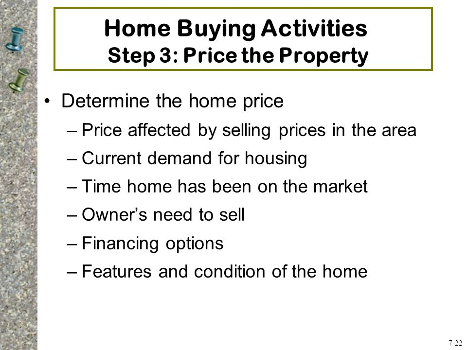 Home Buying Activities Step 3: Price the Property Determine the home price –Price affected by selling prices in the area –Current demand for housing –Time home has been on the market –Owner's need to sell –Financing options –Features and condition of the home 7-22