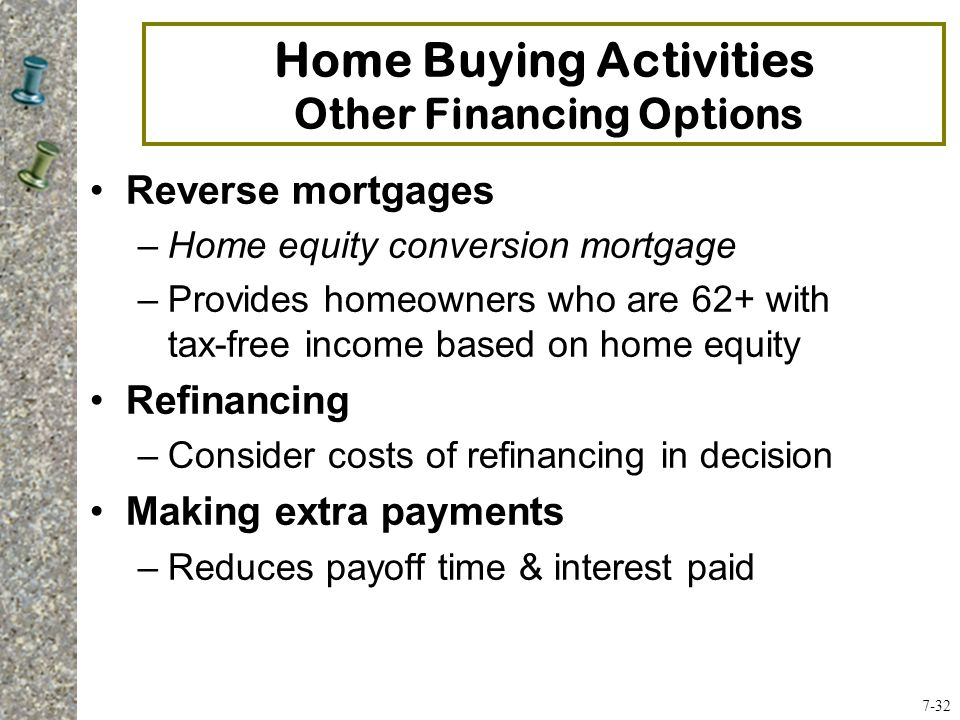 Reverse mortgages –Home equity conversion mortgage –Provides homeowners who are 62+ with tax-free income based on home equity Refinancing –Consider costs of refinancing in decision Making extra payments –Reduces payoff time & interest paid Home Buying Activities Other Financing Options 7-32