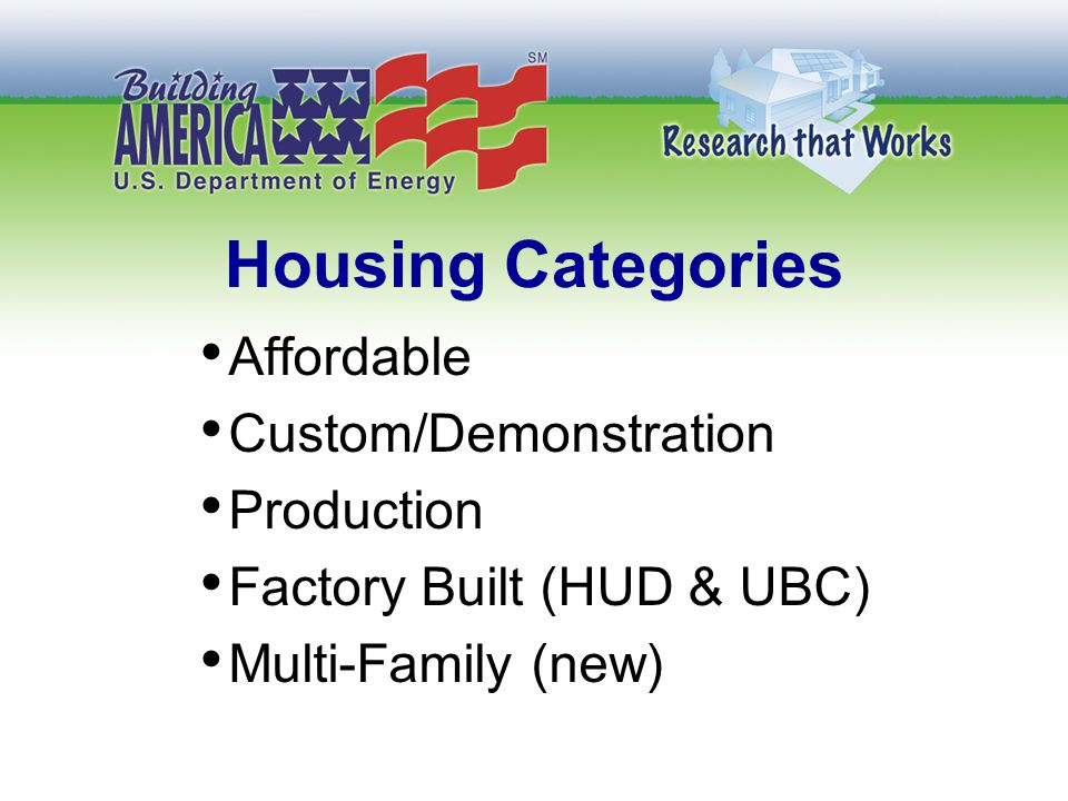 Housing Categories Affordable Custom/Demonstration Production Factory Built (HUD & UBC) Multi-Family (new)