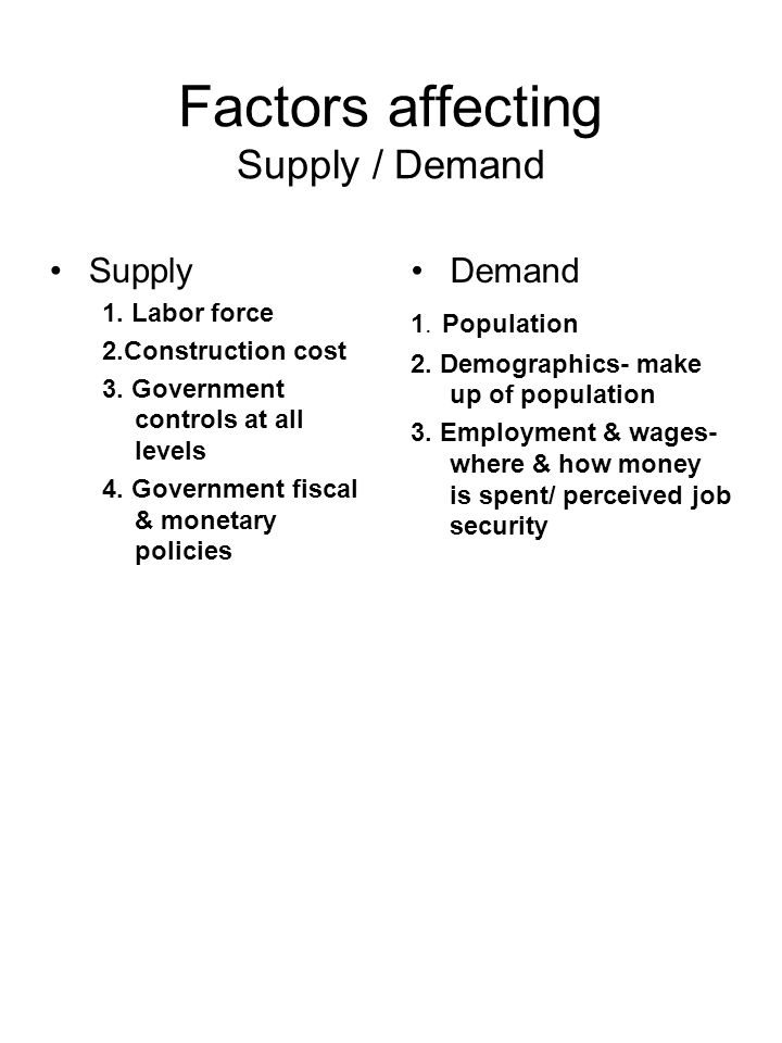 Factors affecting Supply / Demand Supply 1. Labor force 2.Construction cost 3. Government controls at all levels 4. Government fiscal & monetary polic