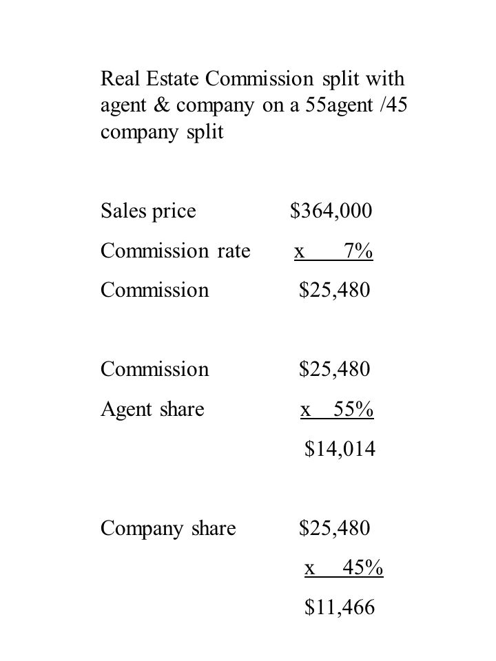 Real Estate Commission split with agent & company on a 55agent /45 company split Sales price $364,000 Commission rate x 7% Commission$25,480 Agent sha