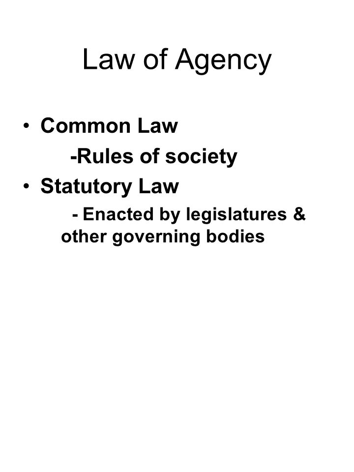 Law of Agency Common Law -Rules of society Statutory Law - Enacted by legislatures & other governing bodies