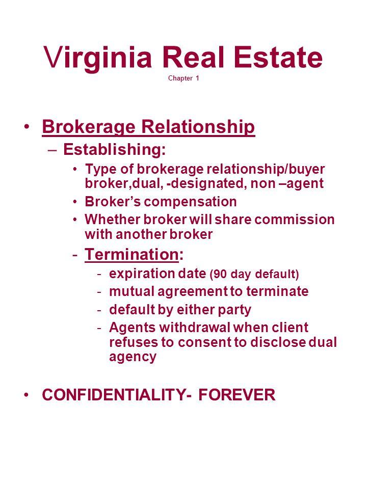 Virginia Real Estate Chapter 1 Brokerage Relationship –Establishing: Type of brokerage relationship/buyer broker,dual, -designated, non –agent Broker'