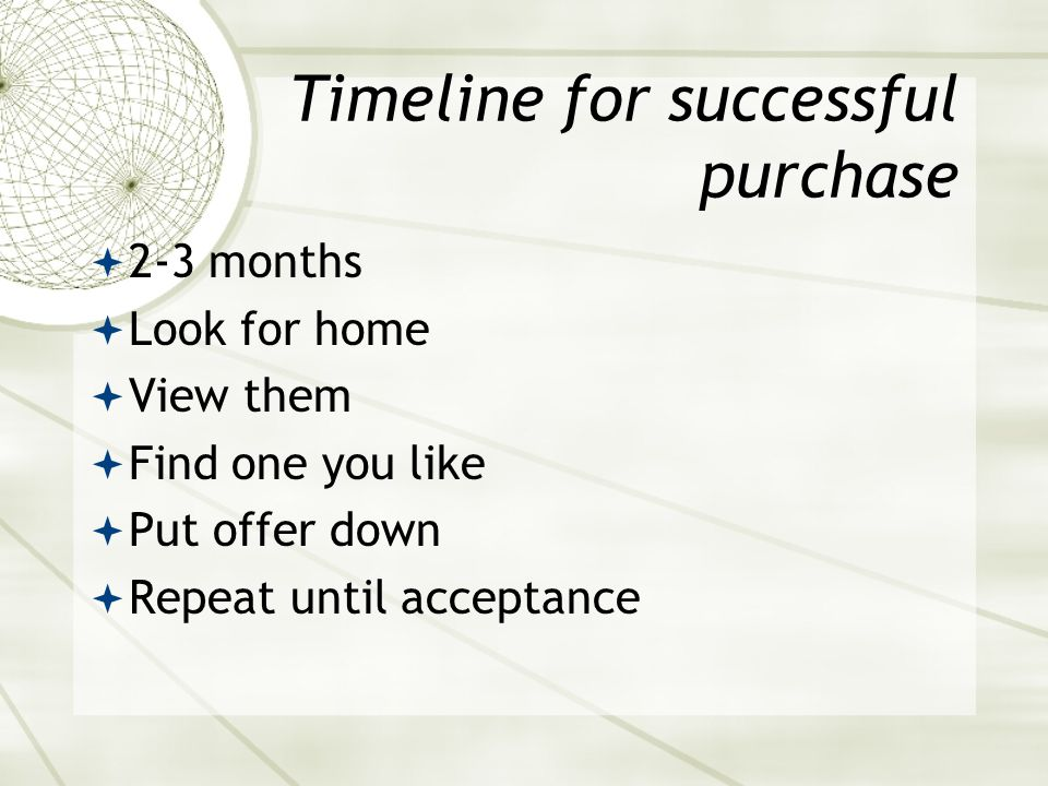 Timeline for successful purchase  2-3 months  Look for home  View them  Find one you like  Put offer down  Repeat until acceptance